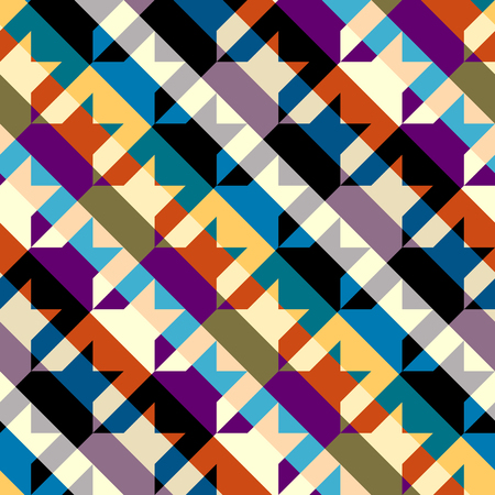 Seamless geometric pattern. Classic Hounds-tooth pattern in a patchwork collage style. Vector image. 矢量图像