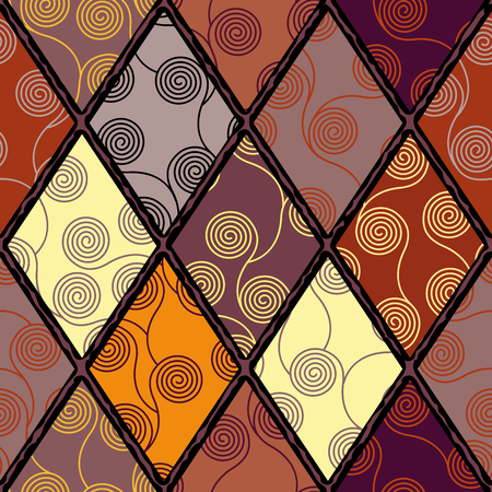 Seamless brown patchwork pattern. Curly waves pattern in Art Nouveau style. Vector illustration. Çizim