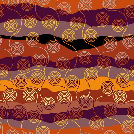 Seamless brown patchwork pattern. Curly waves pattern in Art Nouveau style. Vector illustration. Ilustração