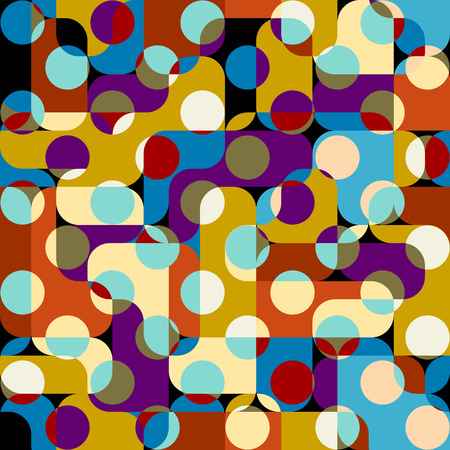 Seamless geometric pattern. Classic polka dot pattern in a patchwork collage style. Vector image.