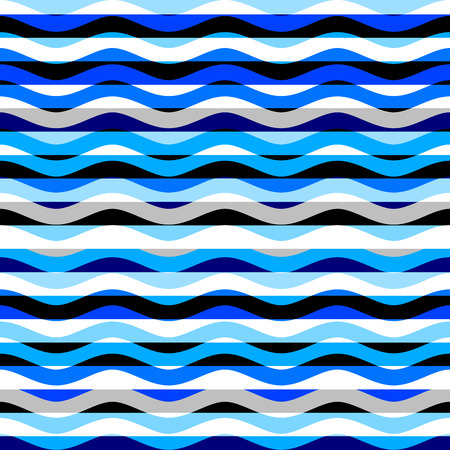 Seamless geometric wavy pattern. Horizontal blue strips pattern in a patchwork collage style. Vector image.