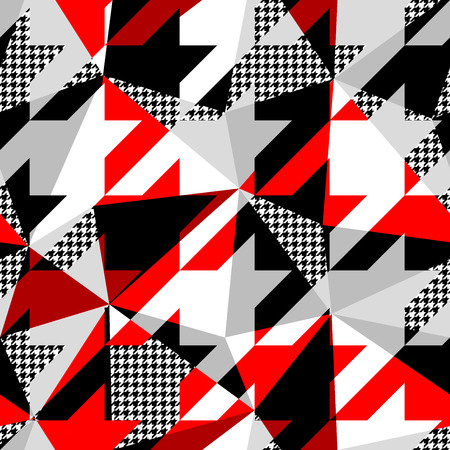 Seamless geometric pattern. Classic Hounds-tooth pattern in a patchwork collage style. Vector image. Illustration