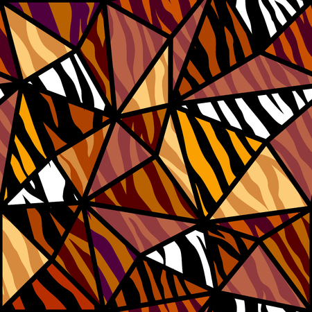 Abstract exotic pattern in patchwork style. Brown tribal background. Vector image. Seamless pattern.