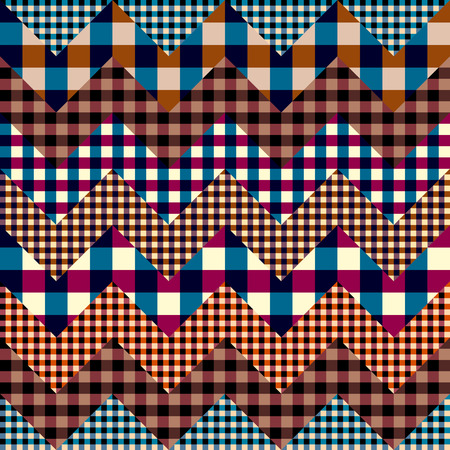Seamless background pattern. Patchwork pattern of plaid chevrones. Vector image. 免版税图像 - 111665578