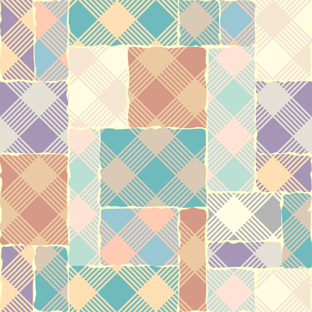 Seamless background. Geometric abstract diagonal plaid pattern in patchwork style. Pastel colors. Vector image. Illustration