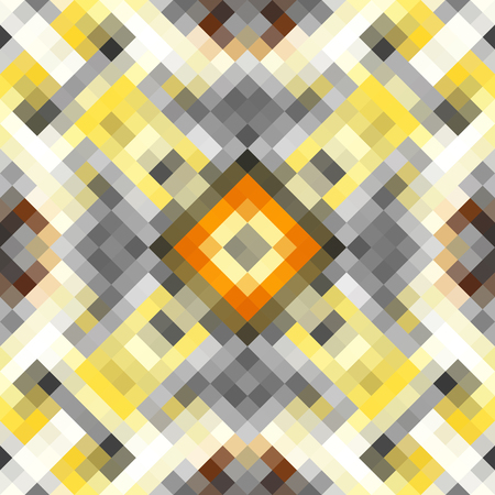 Geometric abstract symmetric pattern in pixel art style. Seamless geometric background. Vector image.