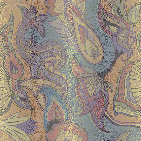 Pattern based on decorative elements Paisley. Seamless pattern in retro grunge indian style.