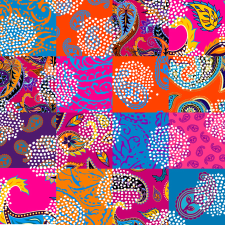 Seamless background pattern. Patchwork pattern with Paisley ornament patterns. Bright magenta and orange colors. Ethnic indian style. Ilustração