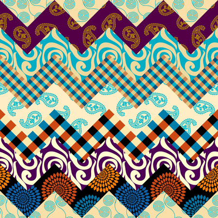 Seamless background pattern. Patchwork pattern. Vector image. Illustration