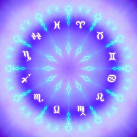 Magic circle with zodiacs sign on abstract mystic background. Stock Photo - 112518805