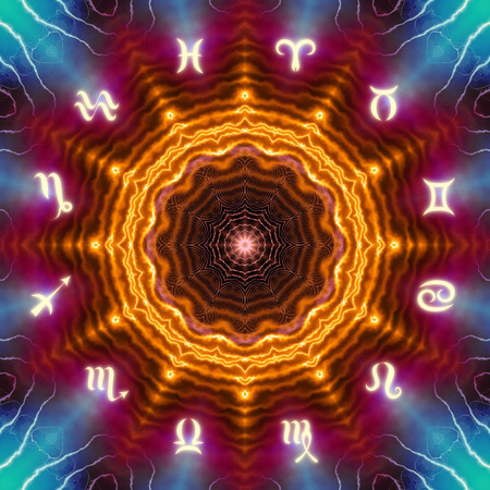 Magic circle with zodiacs sign on abstract mystic background. Stockfoto