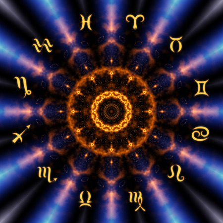 Magic circle with zodiacs sign on abstract mystic background. Foto de archivo