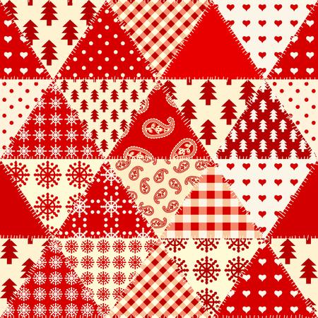 Patrón de fondo transparente. Patrón de patchwork de Navidad. Imagen vectorial.