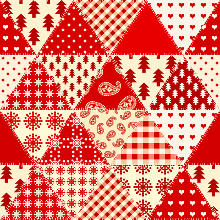 Seamless background pattern. Cristmas patchwork pattern. Vector image. Ilustração