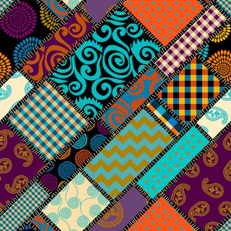 Seamless background pattern. Patchwork pattern. Vector image. Ilustração