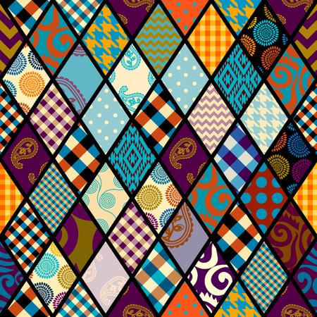Seamless background pattern. Patchwork pattern. Vector image. Ilustración de vector