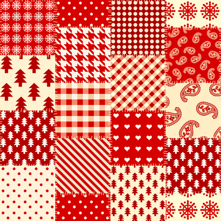 Seamless background pattern. Cristmas patchwork pattern. Vector image Illusztráció