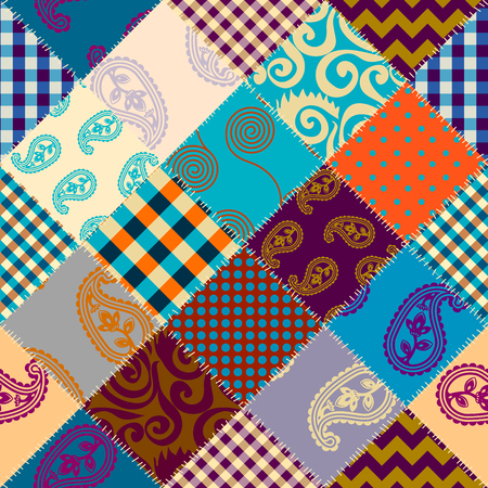 Seamless background pattern. Patchwork pattern. Vector image Banco de Imagens - 127385425