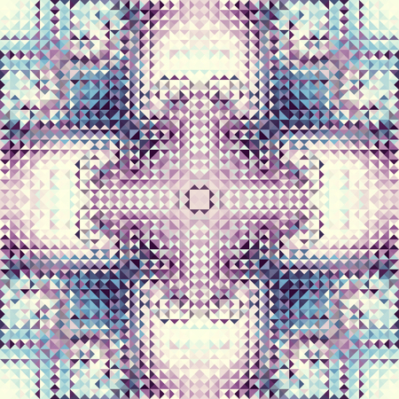 Seamless background. Geometric abstract pattern in low poly style. Effect of a glass. Small cubes. Vector image. Illustration