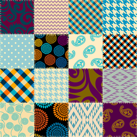 Seamless background pattern. Patchwork pattern. Vector image Vectores