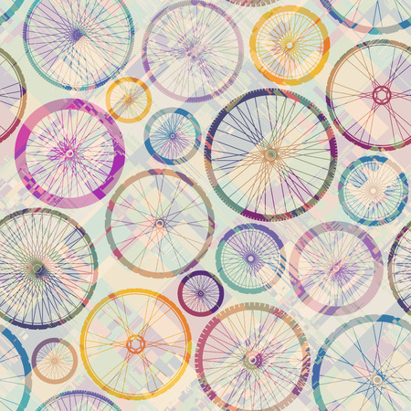 Seamless background pattern. Pattern with bycicles wheels. Vector image. Vektorgrafik