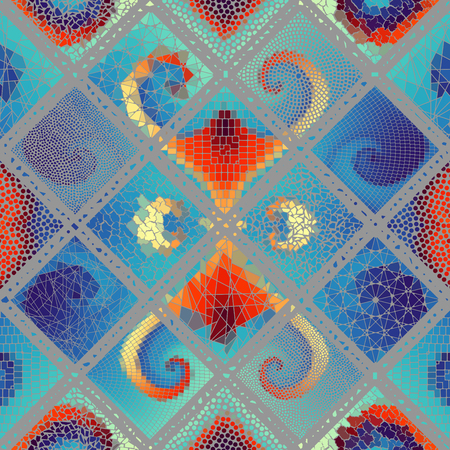 Seamless background pattern. Mosaic art pattern based on Art Nouveau style. Block design of squares. Vector image. Vector Illustration
