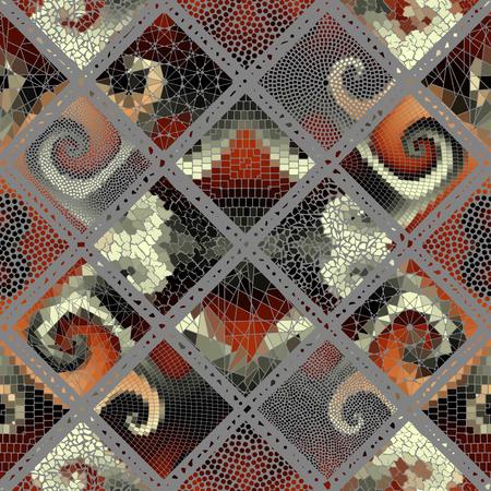 Seamless background pattern. Mosaic art pattern based on Art Nouveau style. Block design of squares. Vector image. Illustration