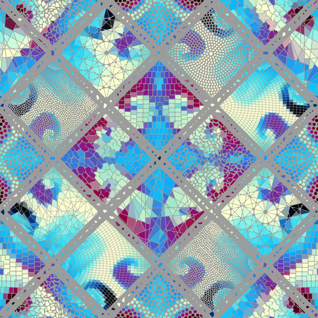 Seamless background pattern. Mosaic art pattern based on Art Nouveau style. Block design of squares. Vector image. Ilustração