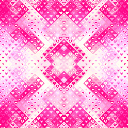 Seamless background. Geometric abstract low poly pattern with hearts. Unusual Valentines day background.