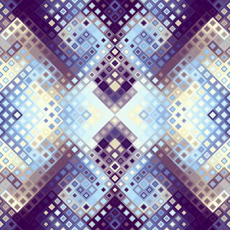 Seamless background. Geometric abstract symmetric pattern in low poly pixel art style.
