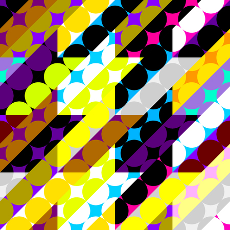 Seamless geometric pattern. Classic polka dot pattern in a patchwork collage style. Vector image. Banco de Imagens - 124995949