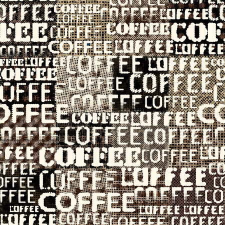 Seamless pattern. Grunge coffee pattern on a patchwork of rough canvas. Vector image.