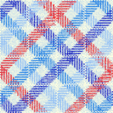 Seamless pattern. Imitation of a patchwork pattern of rough canvas. Vector image.