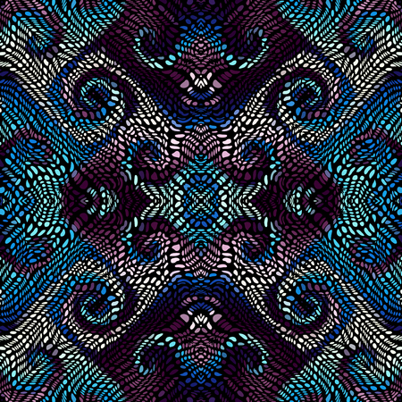 Seamless background pattern. Unusual curved mosaic pattern. Vector image.