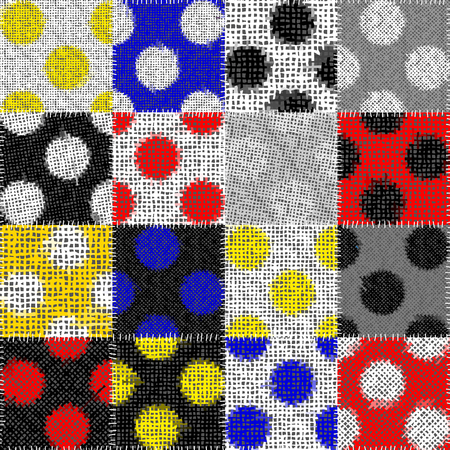 Seamless pattern. Imitation of a patchwork pattern of rough canvas. Polka dot ornament. Vector image.