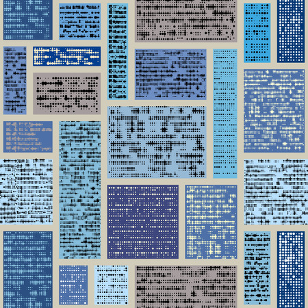 Seamless background pattern. Imitation of a abstract vintage newspaper in block design style. Unreadable text.