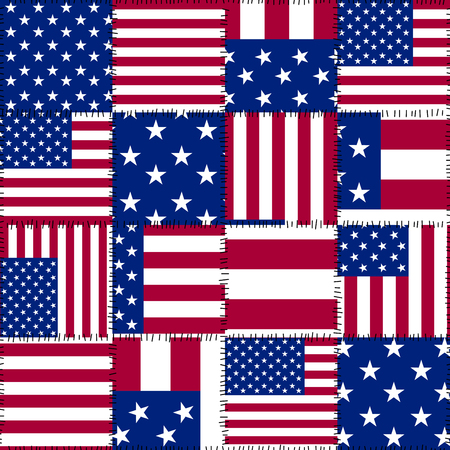 Seamless background pattern. Patchwork pattern of USA flag. Vector image