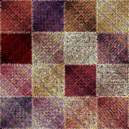 Seamless pattern. Imitation of a patchwork pattern of rough canvas. Vector image. Illustration