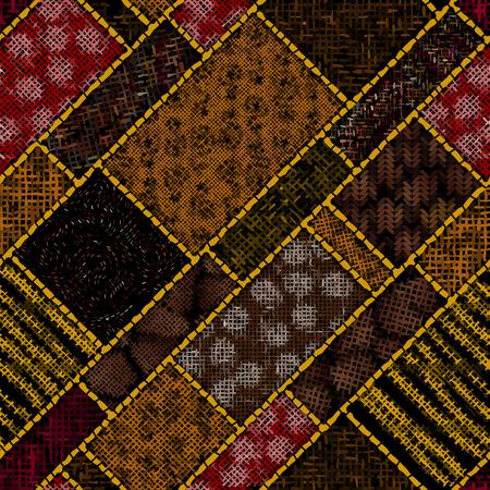 Imitación del patrón de mosaico indio con lienzo de textura Imagen transparente de vector.