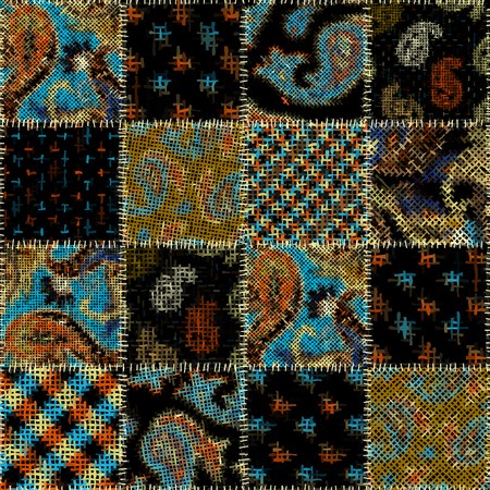 Seamless pattern. Imitation of a patchwork pattern of rough canvas. Vector image. Иллюстрация