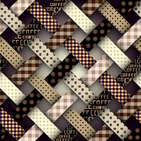 Seamless vector image. Patchwork plaid pattern. Imitatin of interweaving ribbons. Illustration