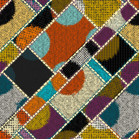 Imitation of indian patchwork pattern with texture canvas Vector seamless image. 矢量图片