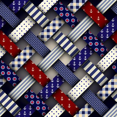 Seamless vector image. Patchwork plaid pattern. Imitatin of interweaving ribbons. Vektorgrafik