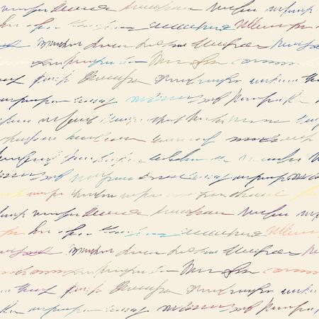 Pattern di sfondo senza soluzione di continuità. Imitazione di una scritta vintage astratta. Testo illeggibile.