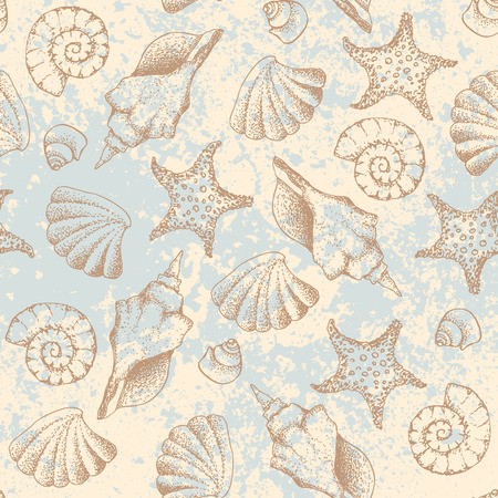 Seamless pattern. Grunge hand draw in retro marine style. Vector illustration. Ilustração