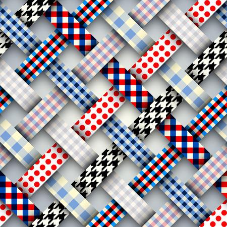Imagen vectorial perfecta. Patrón de cuadros de patchwork. Imitación de cintas entrelazadas.