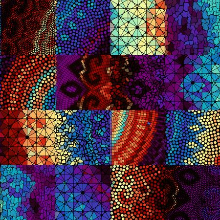 Seamless background pattern. Mosaic art pattern based on Art Nouveau style. Block design of squares. Vector image. Ilustrace