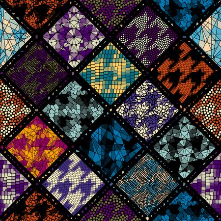 Seamless background pattern. Mosaic art pattern. Block design of squares. Vector image. Ilustrace