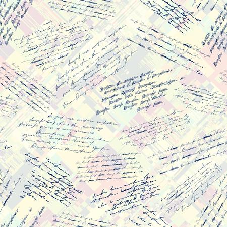 Pattern di sfondo senza soluzione di continuità. Imitazione di una scritta vintage astratta. Testo illeggibile. Vettoriali