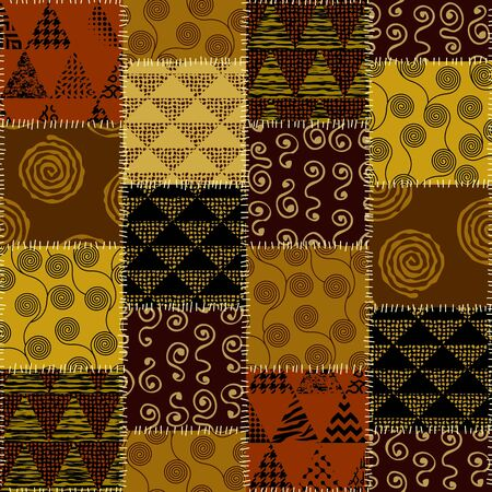 Seamless background pattern. Abstract ethnic pattern of spirals. patchwork in indian style. Vector image Ilustração